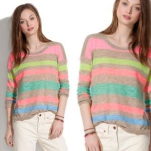 Madewell Beige Neon Striped Knit Sweater Size - S